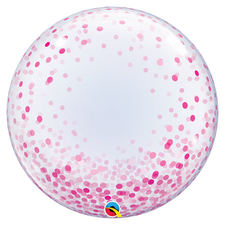 24'' Pink Confetti Deco Bubble balloon