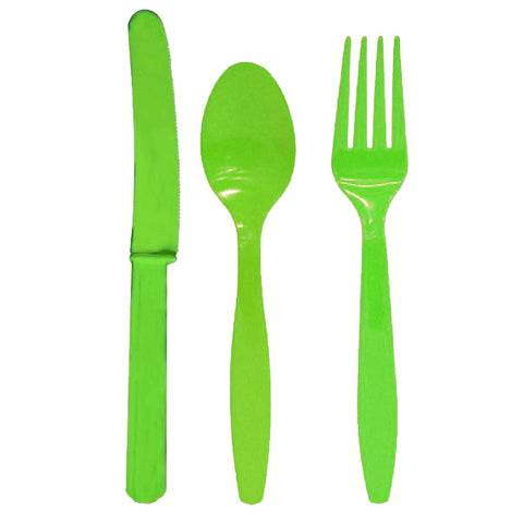Light Green Knife - Fork – Spoon (24 pcs)