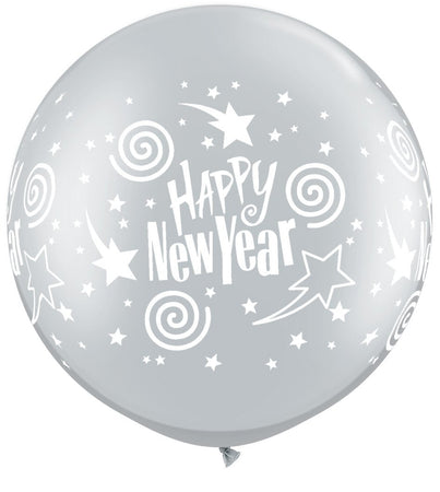 3 feet Printed 'Happy New Year' Silver Latex Balloon (1 piece)