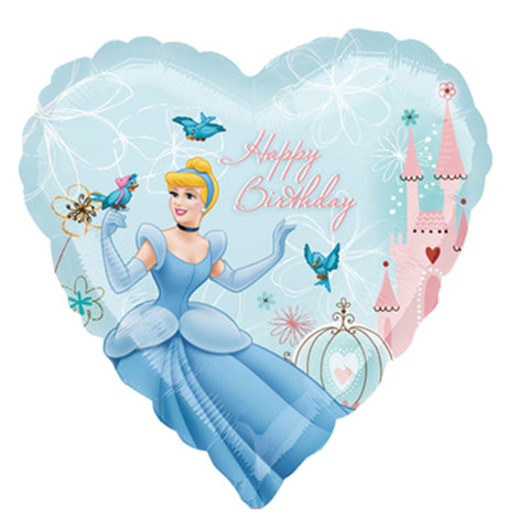 18'' Heart Cinderella Disney Happy bday Foil Balloon