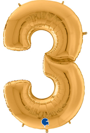 64'' Gold Number '3' Foil Balloon