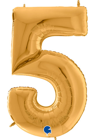 64'' Gold Number '5' Foil Balloon