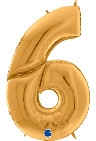 64'' Gold Number '6' Foil Balloon