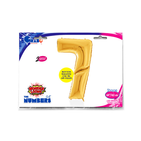 64'' Gold Number '7' Foil Balloon
