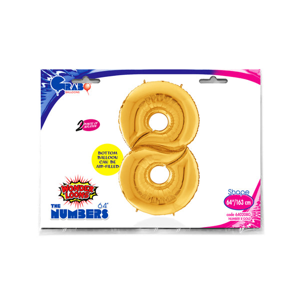 64'' Gold Number '8' Foil Balloon