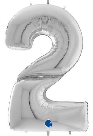 64'' Silver Number '2' Foil Balloon