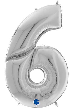 64'' Silver Number '6' Foil Balloon
