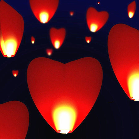 Sky lantern heart shaped red