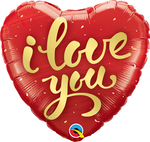 "18"" Heart ""I love you"" Gold script Foil Balloon"