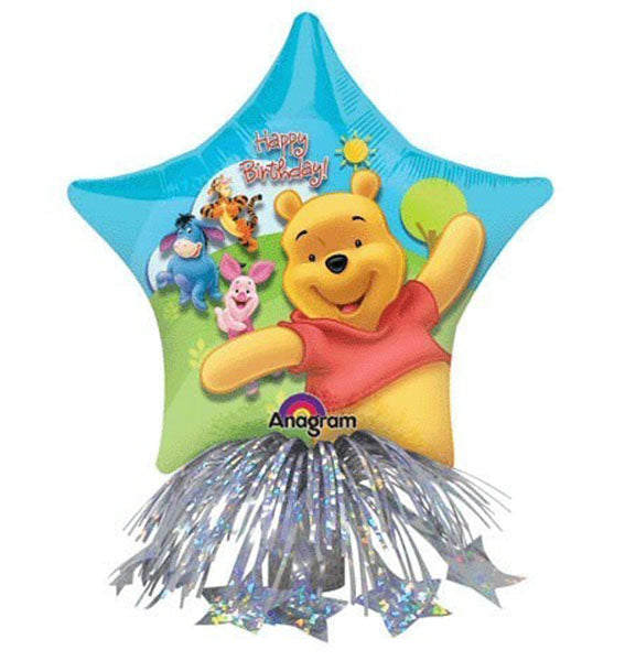 14'' Winnie the pooh Center Piece Foil Balloon and weight with ribbons
