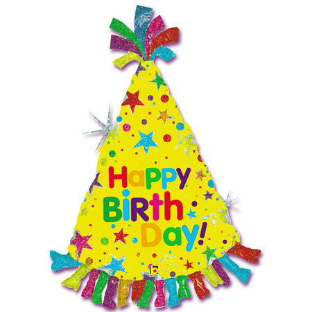 Super Shape Happy Birthday Party Hat Foil Balloon