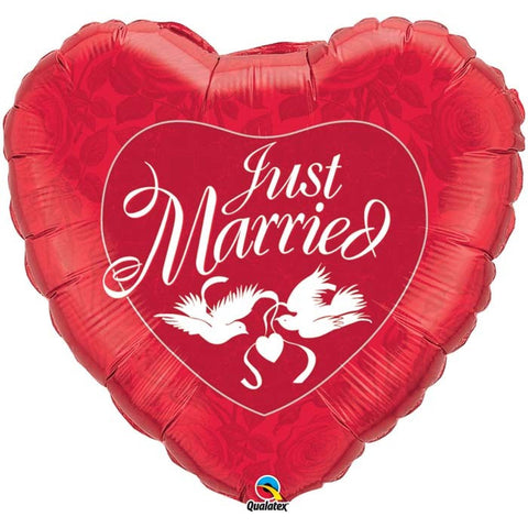 36'' Red Heart 'Just Married' Foil Balloon