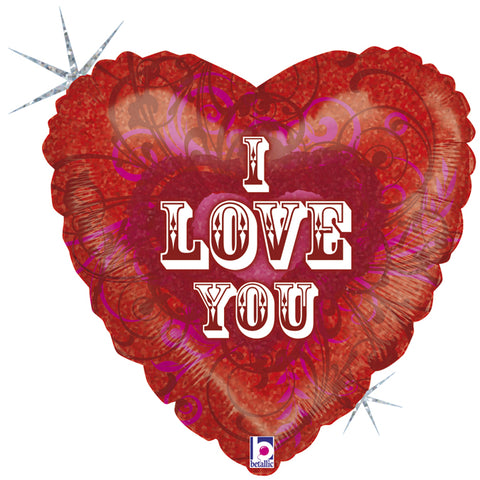 18'' Heart 'I Love You' filigree Foil Balloon