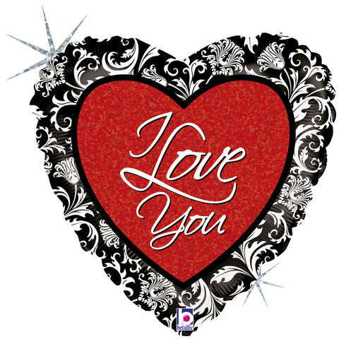 18'' Heart 'I Love You' with black finishing Foil Balloon