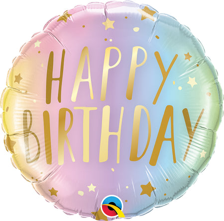 18'' Happy Birthday pastel ombre & stars Foil Balloon