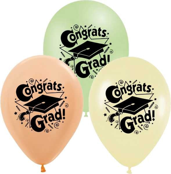 12'' Printed 'Congrats Grad' 3 different Colors Latex Balloon (25 pc)