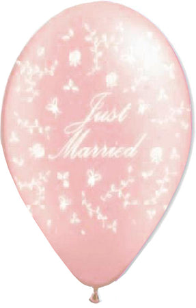"12'' Printed Pearl Pink ""Just Married"" with flowers Latex Balloon (25 pcs)"