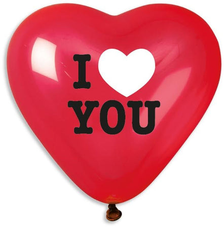 17'' Printed Heart 'I love you' romantic Red Latex Balloon (25 pc)