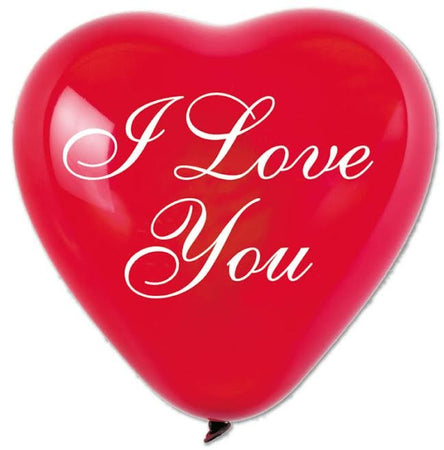 17'' Printed Heart 'I love you' 2 colors printed Red Latex Balloon (25 pc)