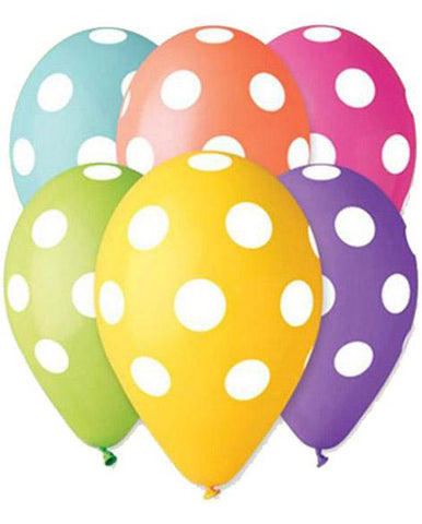 13'' Printed Polka Dots 6 different Colors Latex Balloon (25 pcs)