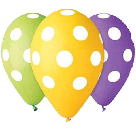 12'' Printed Polka Dots Latex Balloon (5 pcs)