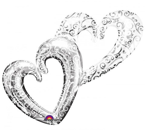 Silver Interlocking Hearts Foil Balloon