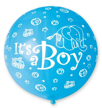31'' Light Blue All Around Printed Its a Boy Latex Balloon