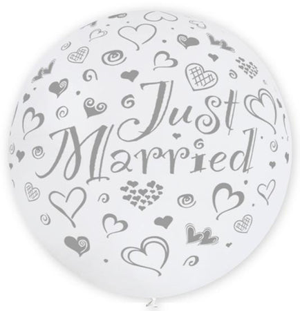 31'' Pearl White All Around Printed Just Merried Latex Balloon