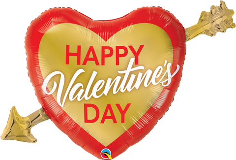 "39"" Valentine's Golden Arrow Foil Balloon"