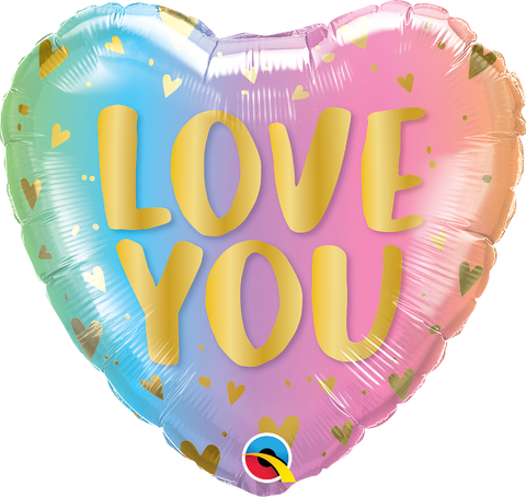 "18'' Heart ""Love you"" pastel ombre & hearts Foil Balloon"