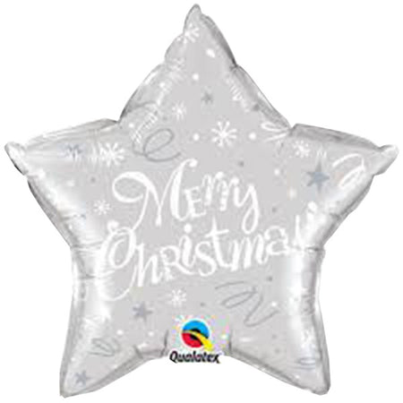 Supershape Siver Star 'Merry Christmas' foil balloon