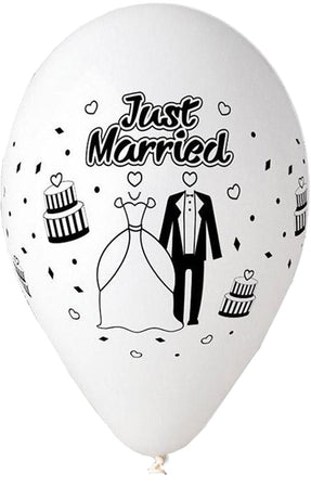 "13'' Printed White ""Just Married"" Latex Balloon (25 pcs)"