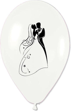 12'' Printed White Just Married Couple Latex Balloon (25 pcs)