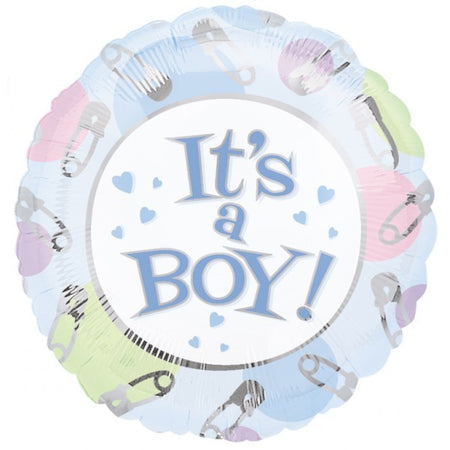18'' Its a boy Safety Pins Foil Balloon