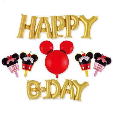 Set ''Happy B-day'' gold Mickey Mouse Foil Balloon (7 pcs)