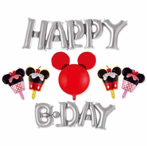 Set ''Happy B-day'' silver Mickey Mouse Foil Balloon (7 pcs)