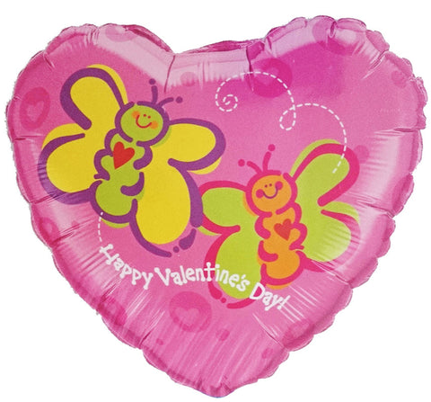 18'' Heart 'Happy Valentines Day' butterflies Foil Balloon