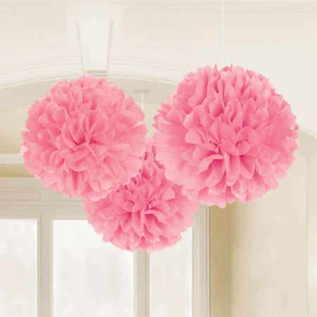 Decorating fluffy hanging balls in pink (3 pcs)