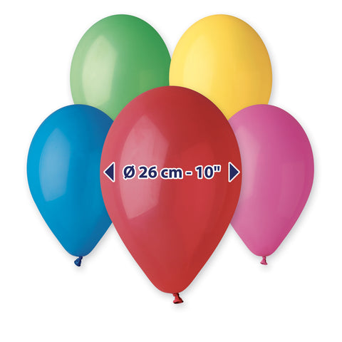 9'' Assorted Colors Latex Balloon (100 pcs)