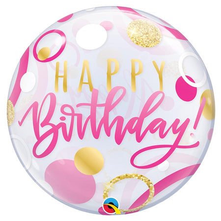22'' Pink & Gold 'Happy Birthday' single Bubble balloon