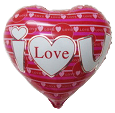 18'' Red Heart with fuchsia stripes 'I Love You' Foil Balloon