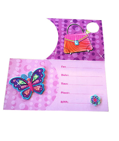 Party Invitations Glamour Girl with 3D Butterfly (8 pcs)