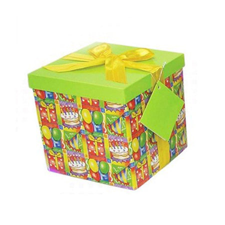 Green gift box with cake-party