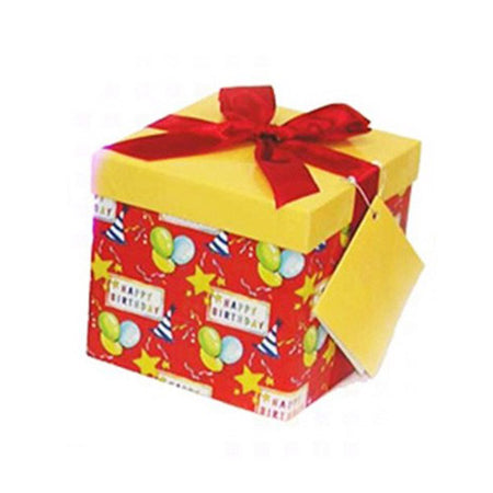 Red gift box with balloons-stars