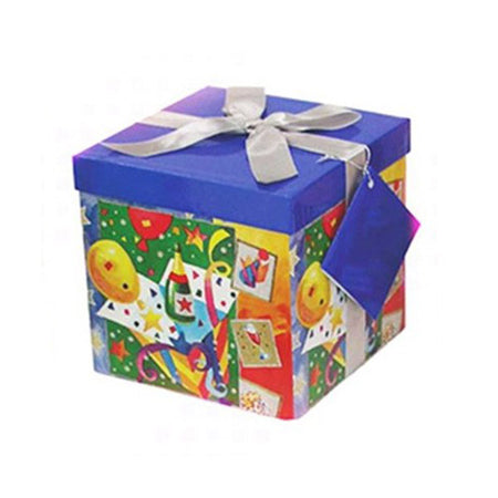 Blue gift box with champagne-party