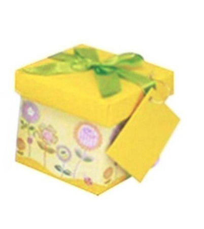 Yellow gift box with flowers