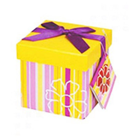 Yellow gift box with stripes