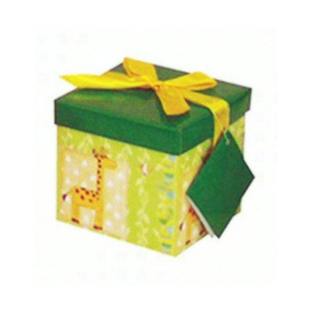 Green gift box with giraffe