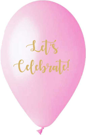 13'' Printed Pink 'Let's Celebrate' Latex Balloon (25 pcs)