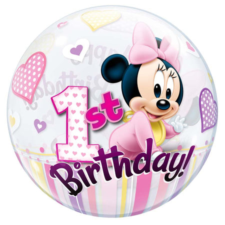 22'' Minnie Mouse 1st Birthday single Bubble balloon